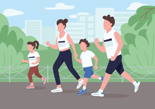 Family run marathon flat color vector illustration. Parent jog in park with children. Mom and dad racing with kids for competition. Relatives 2D cartoon characters with interior on background