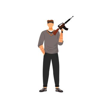 Armed gangster flat color vector faceless character. Young tattooed bandit holding assault rifle isolated cartoon illustration for web graphic design and animation. Young gang member with firearm
