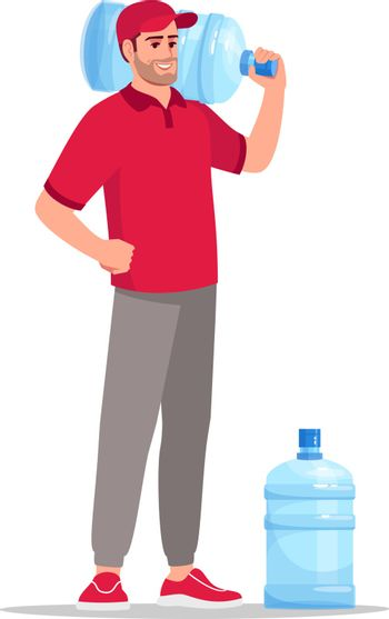 Office water supply delivery semi flat RGB color vector illustration