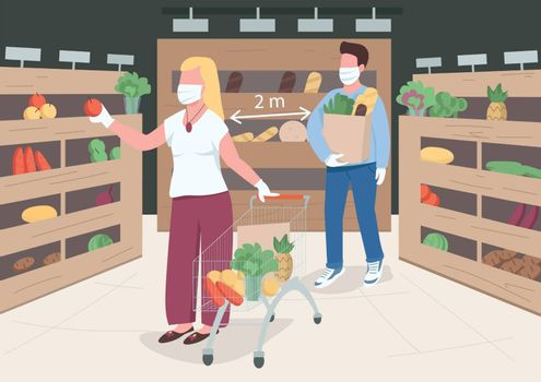 Quarantine measures flat color vector illustration. Prevent virus spread in public places. Woman and men on 2 meter distance. Store customers 2D cartoon characters with interior on background