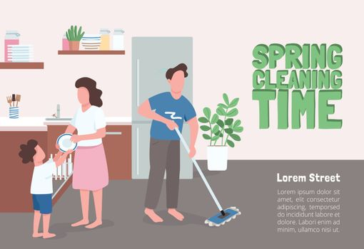 Spring cleaning time poster flat vector template. Parent and kip doing seasonal house chores. Brochure, booklet one page concept design with cartoon characters. Family routine flyer, leaflet