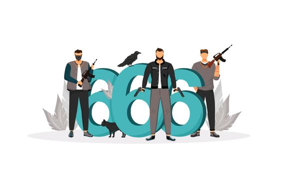 Evil sign flat concept vector illustration. Dangerous armed gangsters, criminals with guns 2D cartoon characters for web design. Number of the beast and criminals. Bad omen creative idea