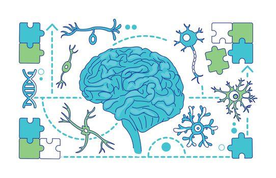 Neurology, neuroscience thin line concept vector illustration
