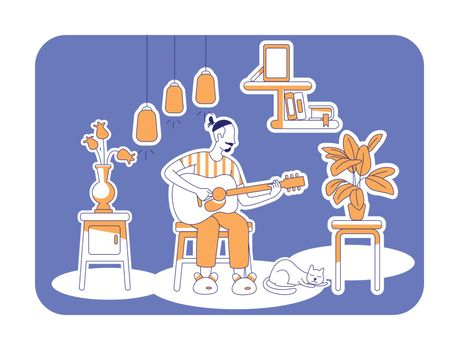 Playing guitar flat silhouette vector illustration. Man at home during weekend. Creative hobby to do indoors. Male outline character on blue background. Lifestyle simple style drawing