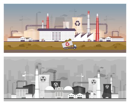 Recycling and power plant flat color vector illustrations set. Energy station and waste management factory 2D cartoon landscapes. Air and land pollution, industrial environment contamination