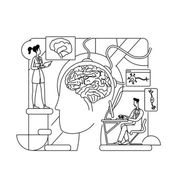 Neurological research thin line concept vector illustration