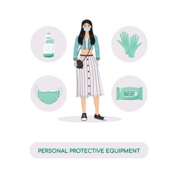 Personal protective equipment, hygiene products flat concept vector illustration. Woman in face mask and rubber gloves 2D cartoon character for web design. Virus protection creative idea