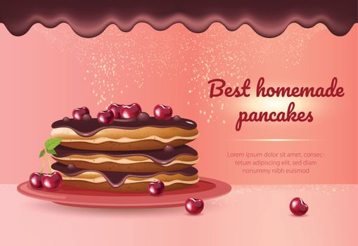 Best homemade pancakes realistic vector product ads banner template