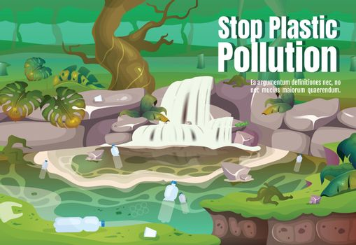 Stop plastic pollution poster flat vector template. Contamination in water. Polluted tropical forest. Brochure, booklet one page concept design with cartoon characters. Jungle flyer, leaflet