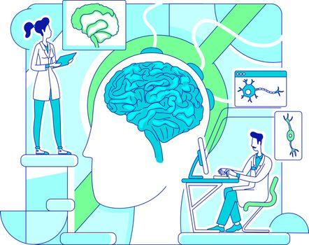 Brain study thin line concept vector illustration