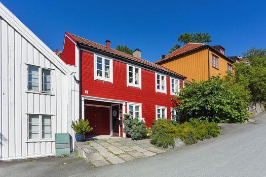 Colorful buildings on streets of Trondheim, Norway. Scandinavian