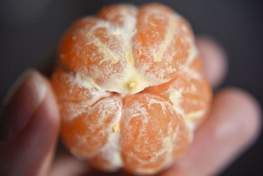 peeled mandarin, closer look at the texture