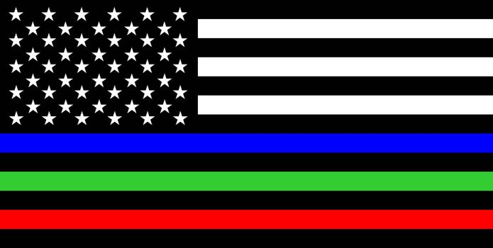 thin green line flag Army and Military Police Members symbol