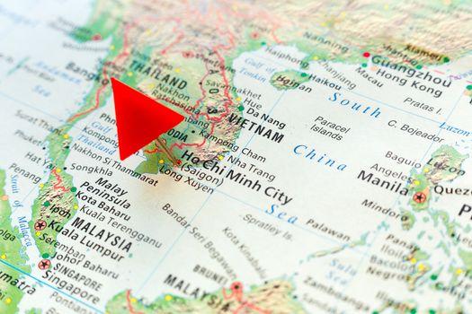 World map with pin on capital city of Vietnam - Ho Chi Minh (Sai