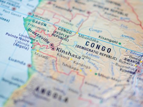 World map with focus on Democratic Republic of the Congo, also k