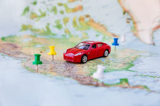 Road trip - car goes on map across the territory of the USA. The
