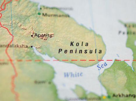 World map with focus on Kola Peninsula, territory of Murmansk Ob