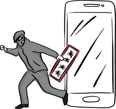thief or hacker use key to hack into smartphone vector illustrat