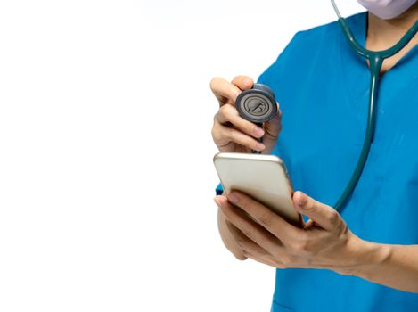 Doctor checkup mobile phone by stethoscope for fix or repair and