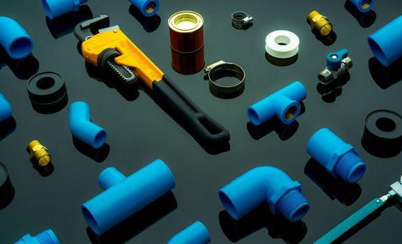 Plumbing tools. Plumber equipment. Blue PVC pipe fittings, glue