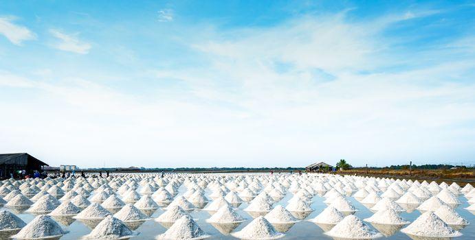 Sea salt farm and barn in Thailand. Raw material of salt industr