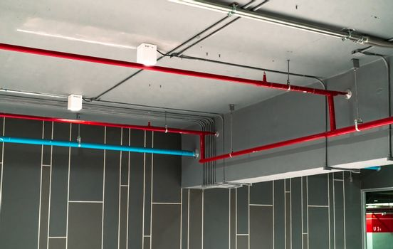 Automatic fire sprinkler safety system and red water supply pipe