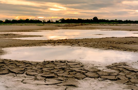 Climate change and drought land. Water crisis. Arid climate. Cra