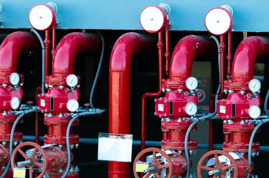 Main supply water piping in the fire extinguishing system. Fire