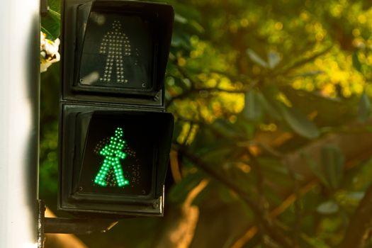 Pedestrian signals on traffic light pole. Pedestrian crossing si