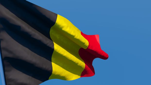 3D rendering of the national flag of Belgium waving in the wind against a blue sky