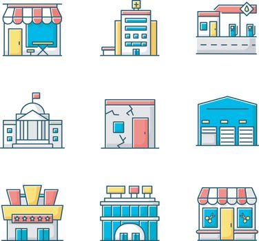 Urban building exteriors RGB color icons set