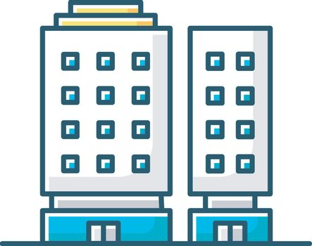 Multiapartment complex RGB color icon