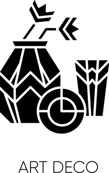 Art deco style black glyph icon