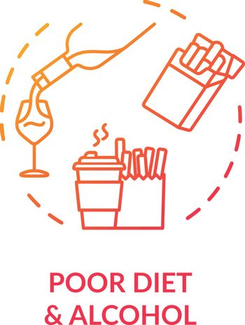 Poor diet and alcohol concept icon