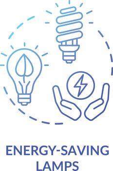 Energy saving lamp blue concept icon