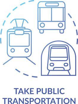 Take public transportation blue concept icon