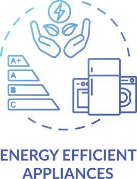 Energy efficient appliance blue concept icon
