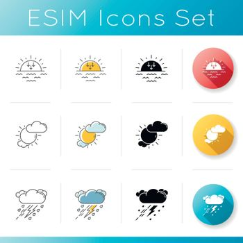Evening weather icons set. Linear, black and RGB color styles. Meteorology, sky clarity and atmospheric precipitation forecast. Sunset, partly cloudy and thunderstorm. Isolated vector illustrations