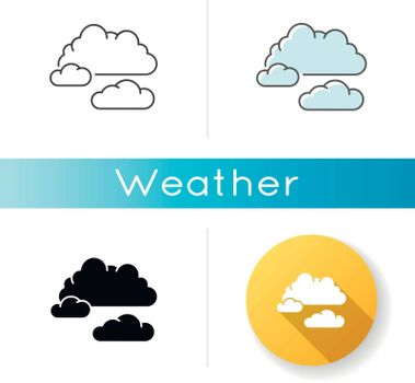 Cloudy weather icon. Linear black and RGB color styles. Overcast, moody sky, meteo forecasting. Atmosphere condition prediction science, meteorology. Clouds isolated vector illustrations