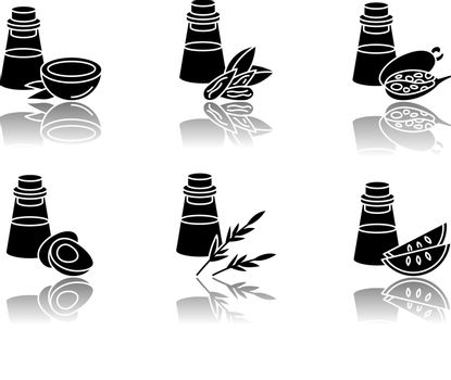 Hair oils drop shadow black glyph icons set. Jojoba ingredient for cosmetic product. Dermatology treatment with natural herbal essence. Isolated vector illustrations on white space.