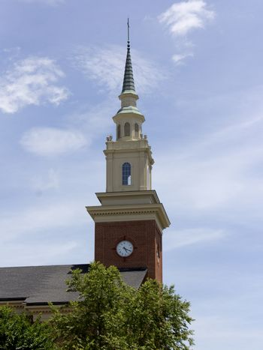 Church steeple with clock