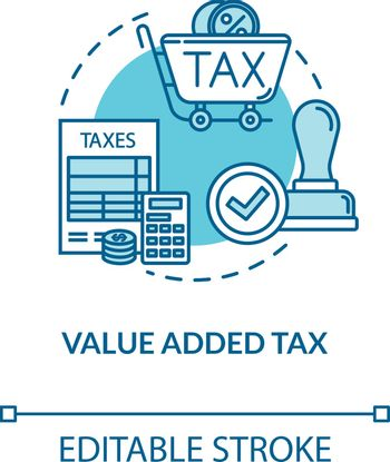 Value added tax concept icon. Consumption cost. Economy, finance. Regressive tax. Notary service idea thin line illustration. Vector isolated outline RGB color drawing. Editable stroke