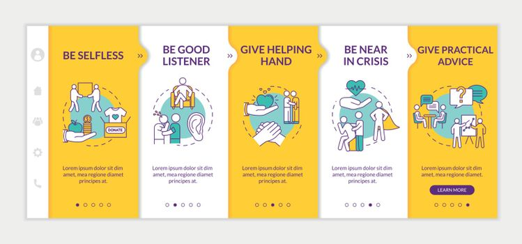 Friends support onboarding vector template. Comforting frustrated people, giving emotinal help. Responsive mobile website with icons. Webpage walkthrough step screens. RGB color concept