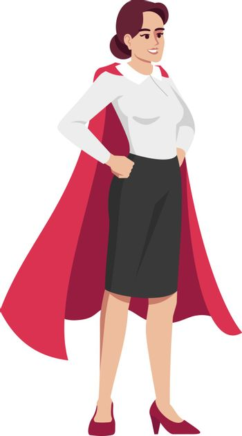 Perfect office manager semi flat RGB color vector illustration. Young worker in superhero cape isolated cartoon character on white background. Efficient employee, comic working mother concept