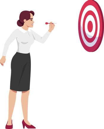Ambitious woman setting goals semi flat RGB color vector illustration. Businesswoman aiming at darts board isolated cartoon character on white background. Workers perfection and determination concept