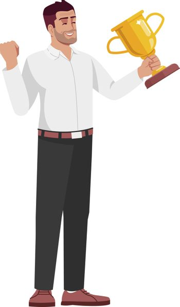 Triumphant office worker semi flat RGB color vector illustration. Young businessman holding trophy isolated cartoon character on white background. Successful project completion, victory concept