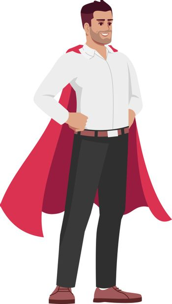 Workplace problem solver semi flat RGB color vector illustration. Employee in superhero cloak isolated cartoon character on white background. Reliable and responsible worker concept