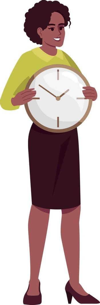 Working hours control semi flat RGB color vector illustration. Female employee with clock isolated cartoon character on white background. Time managements skills development concept