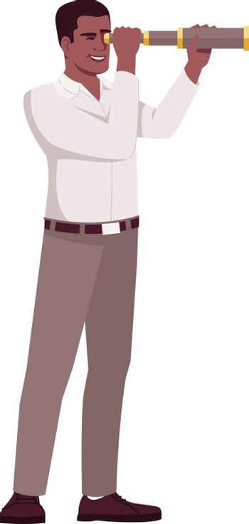 Searching business opportunities semi flat RGB color vector illustration. Boss looking through spyglass isolated cartoon character on white background. Finding new market investments concept