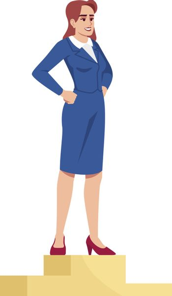 Market leader semi flat RGB color vector illustration. Businesswoman on podium winning first place isolated cartoon character on white background. Professional success and recognition